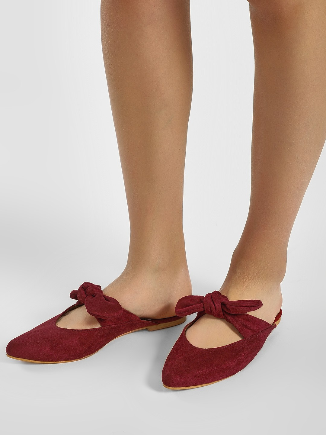 CAi Red Bow Tie-Up Suede Mules 1