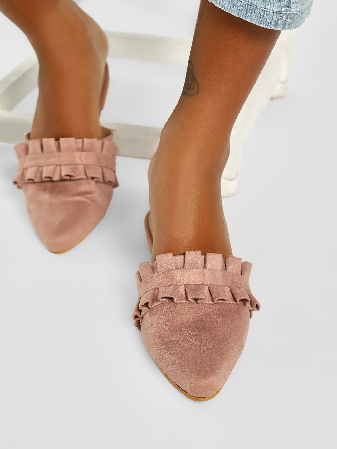 CAi Pink Suede Ruffle Detail Flat Mules 1
