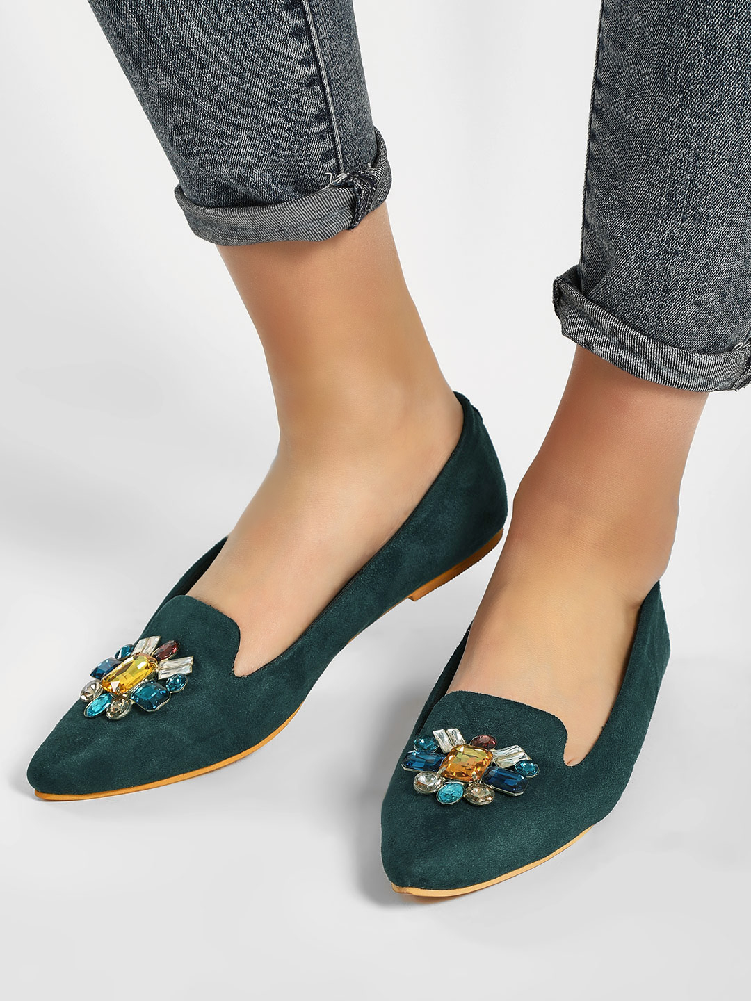 CAi Green Embellished Pointed Toe Slides 1