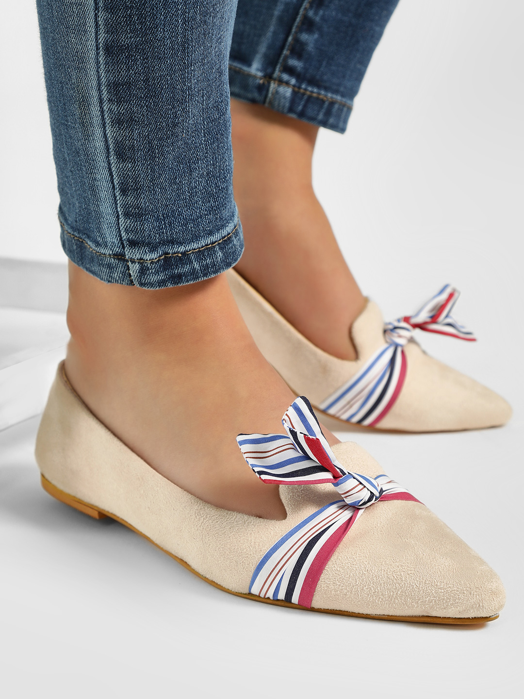 CAi Beige Ribbon Bow Suede Flat Shoes 1