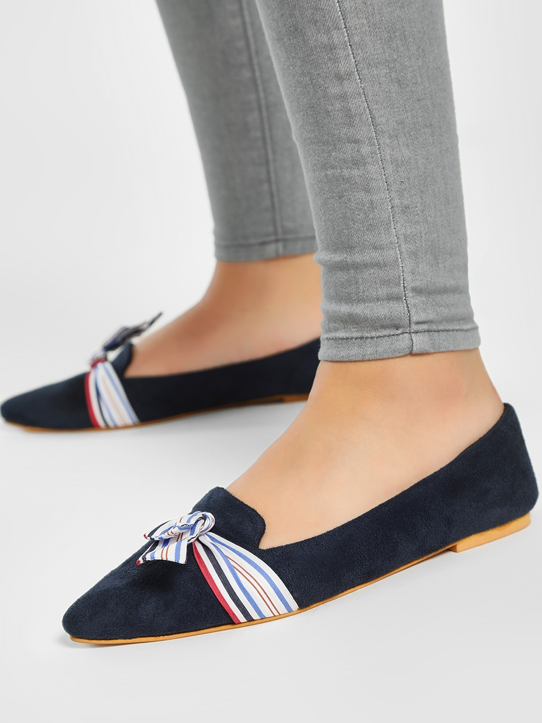 CAi Navy Ribbon Bow Suede Flat Shoes 1