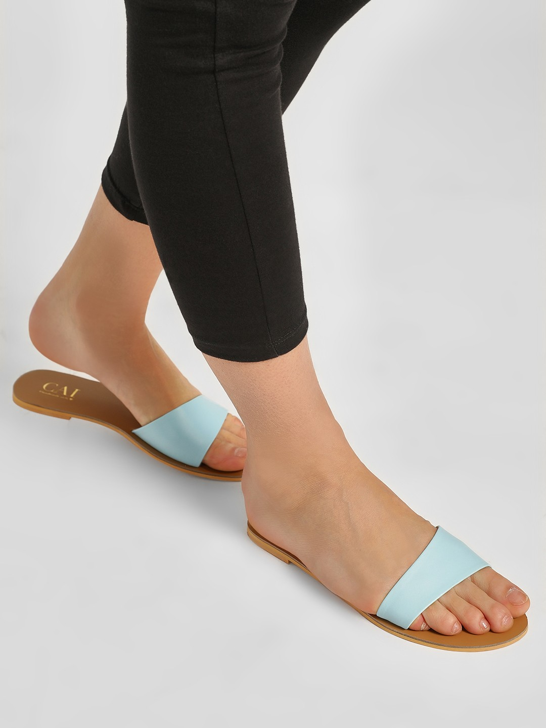 CAi Blue Asymmetric Strap Slides 1