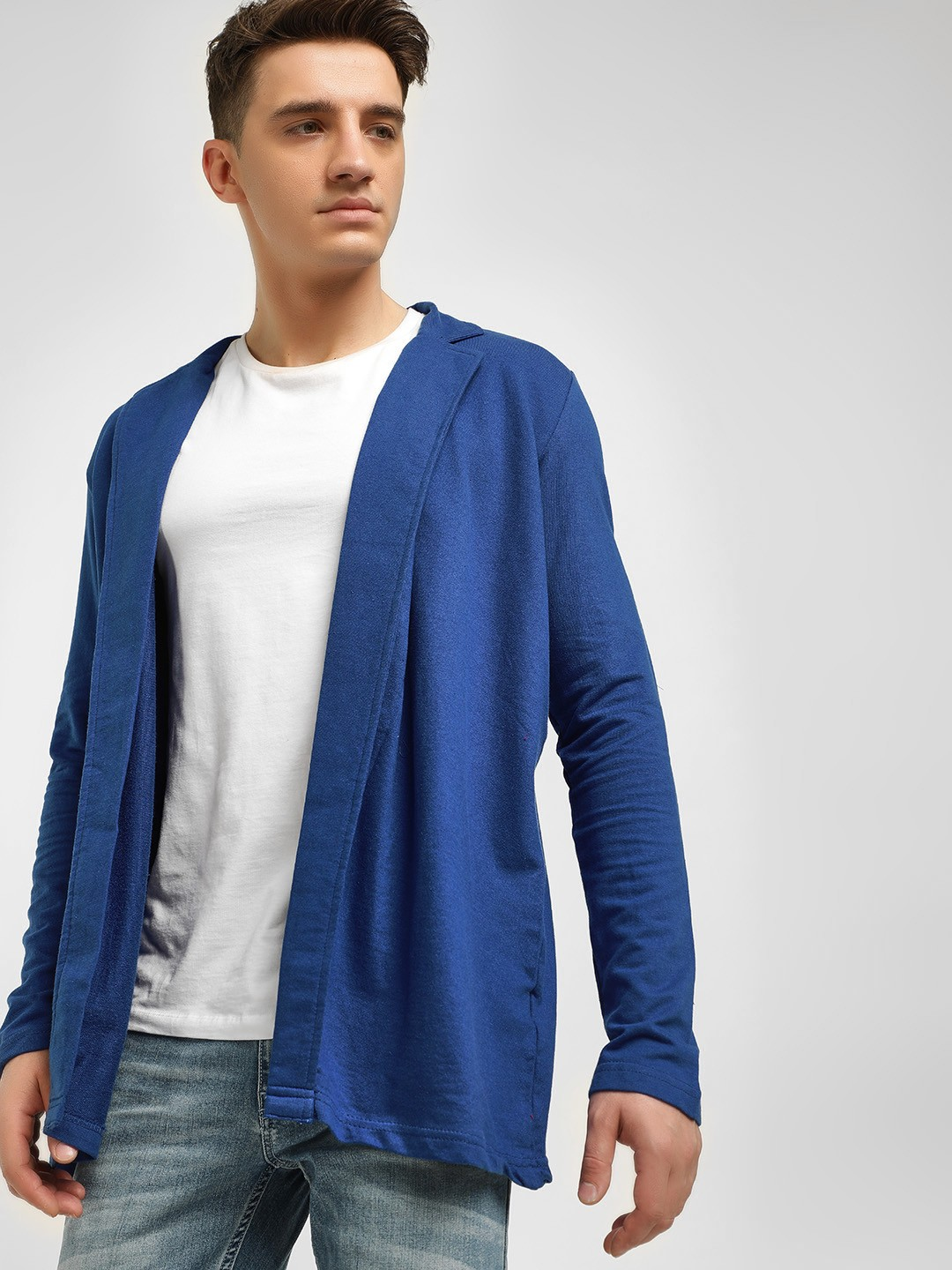 Spring Break Blue Notched Lapel Collared Cardigan 1