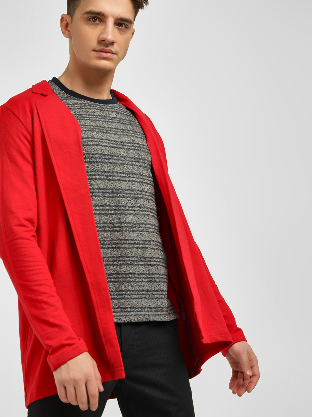 Spring Break Red Notched Lapel Collared Cardigan 1