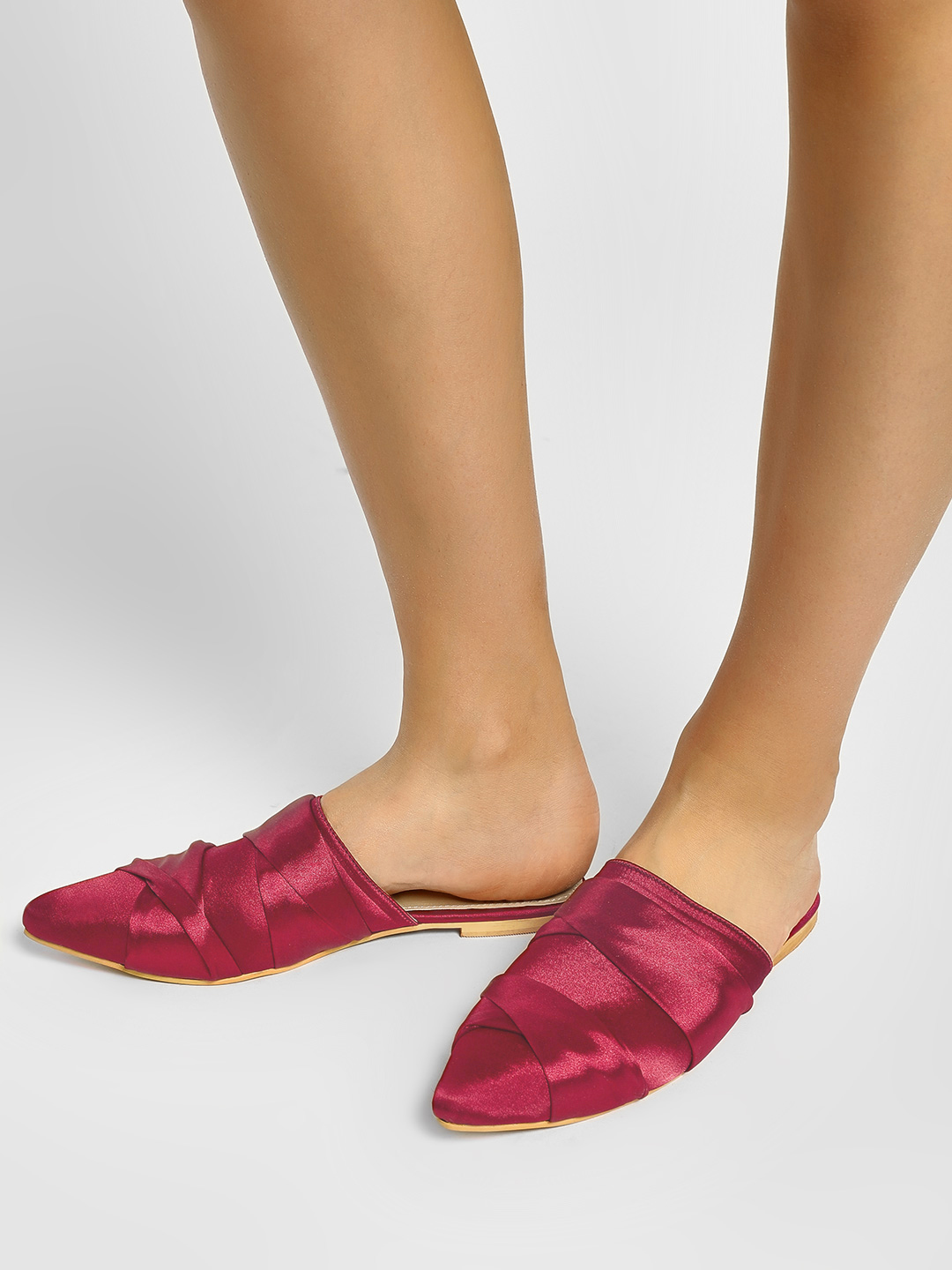 CAi Red Cross-Strap Satin Flat Mules 1