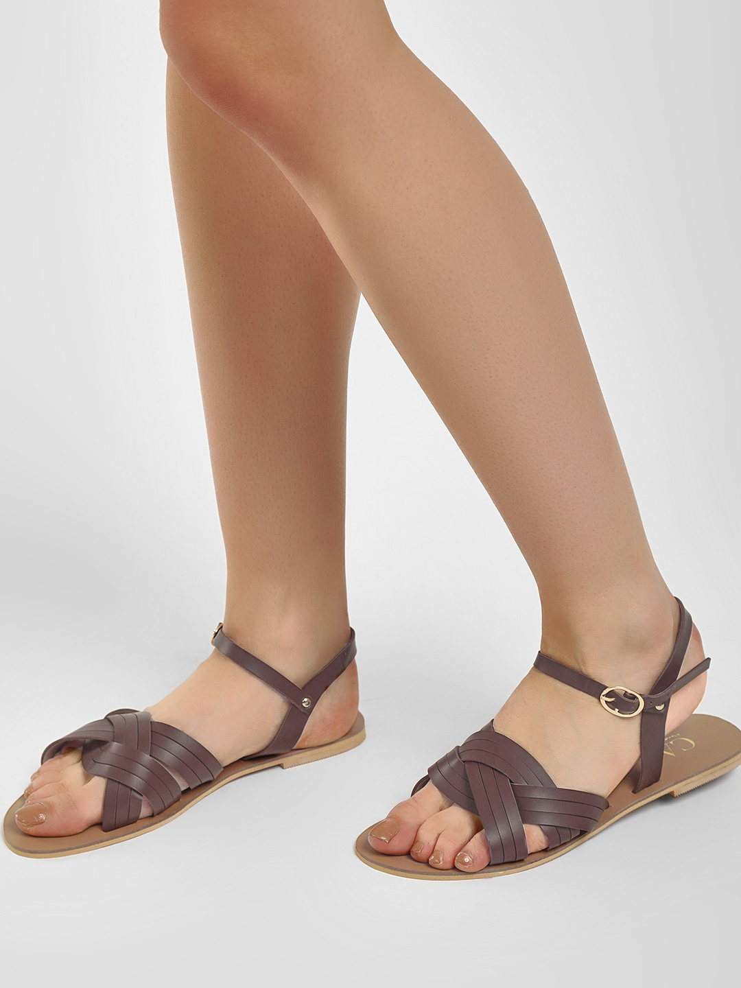 CAi Brown Entangled Cross Strap Flat Sandals 1
