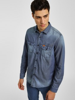 Lee Cooper Washed Denim Casual Shirt