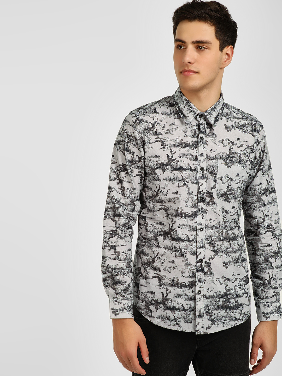 Lee Cooper White Floral Print Casual Shirt 1