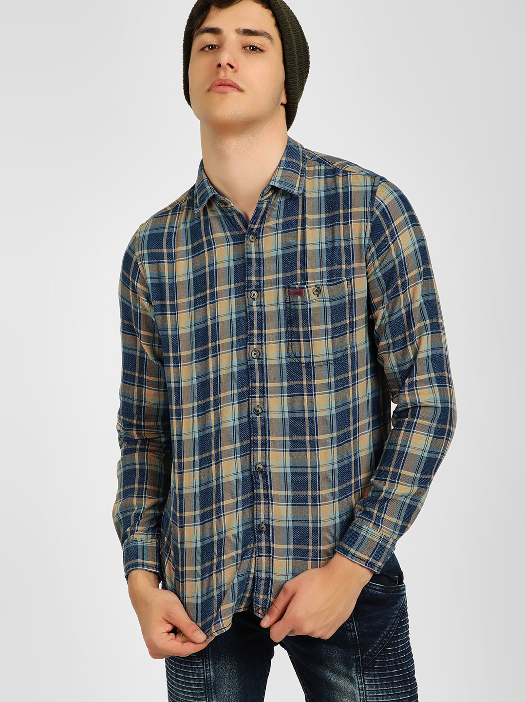 Lee Cooper Blue Casual Check Shirt 1