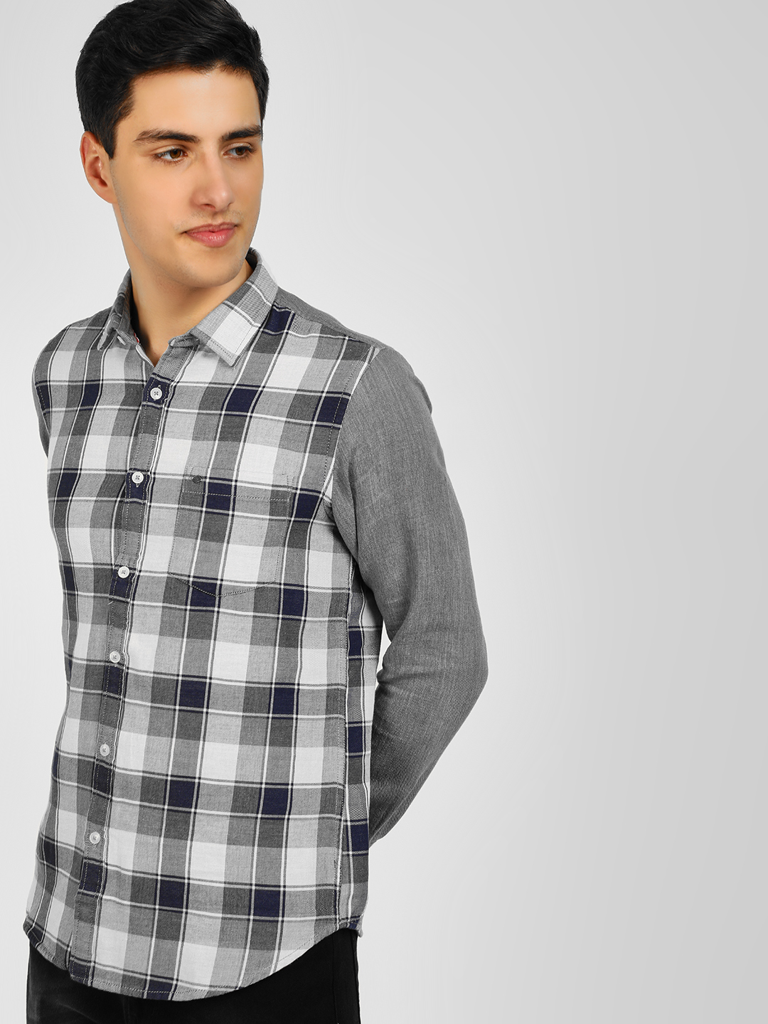 Lee Cooper Grey Long Sleeve Woven Check Shirt 1