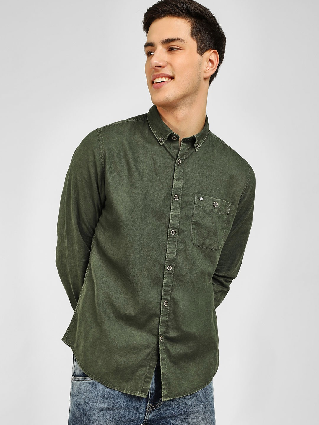 Lee Cooper Green Overdyed Long Sleeves Shirt 1