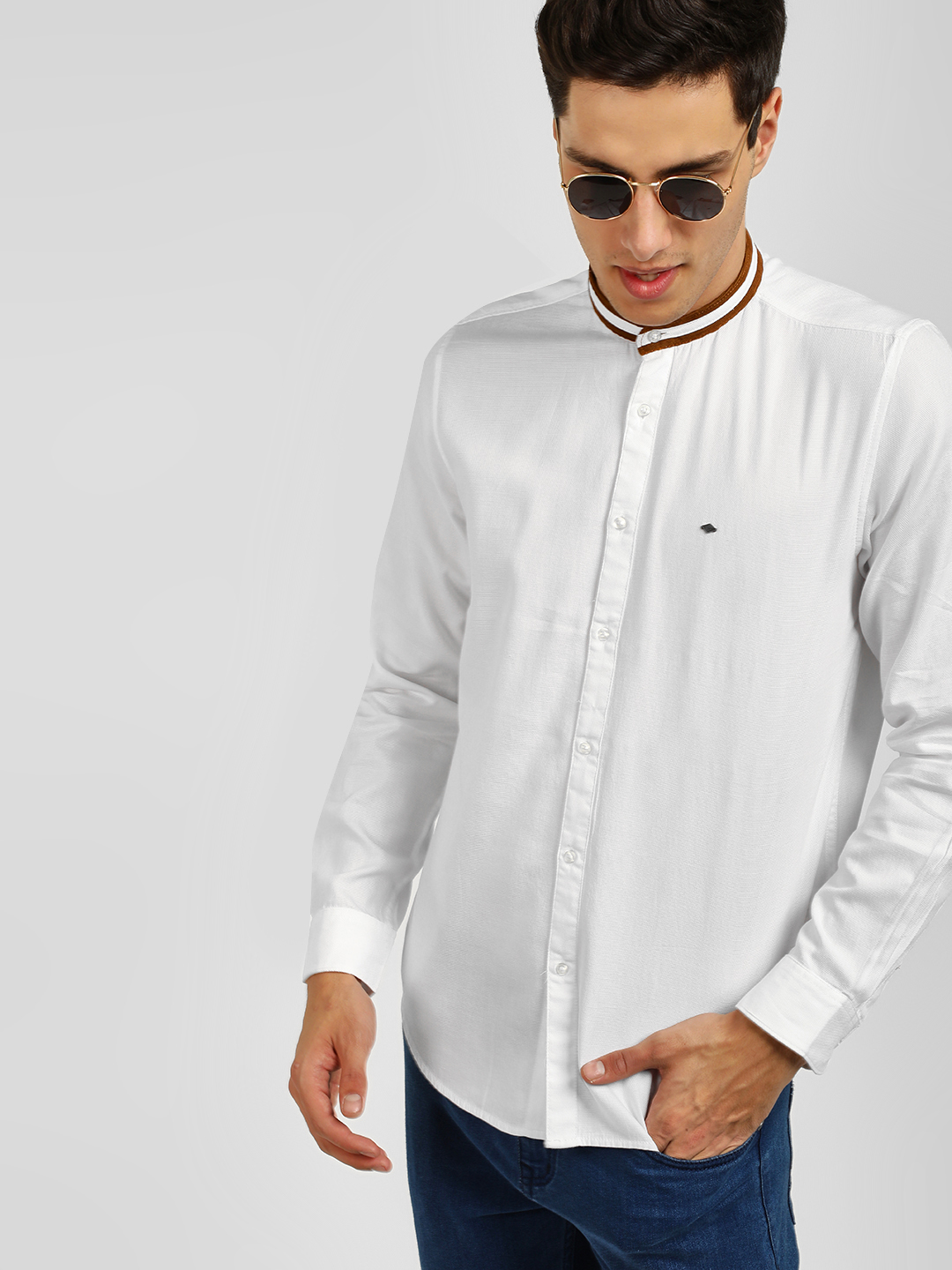 Lee Cooper White Grandad Collar Slim Shirt 1