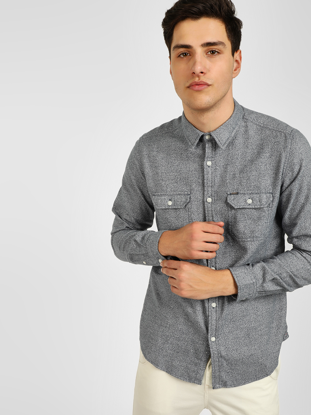Lee Cooper Grey Twin Pocket Casual Shirt 1
