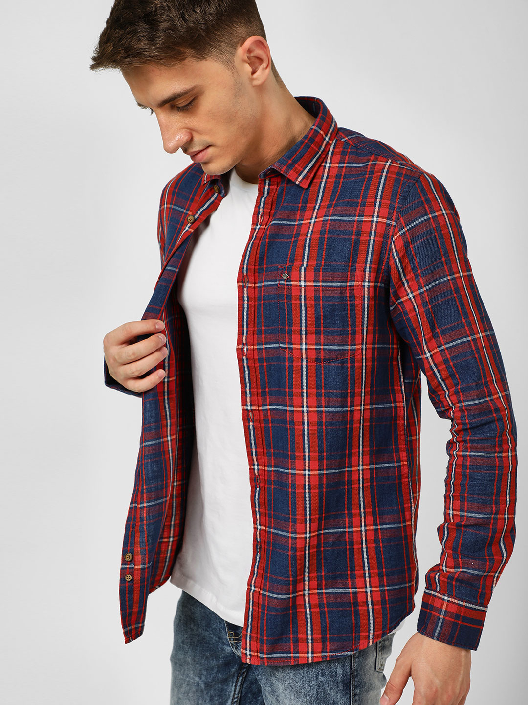 Lee Cooper Blue Long Sleeve Check Shirt 1