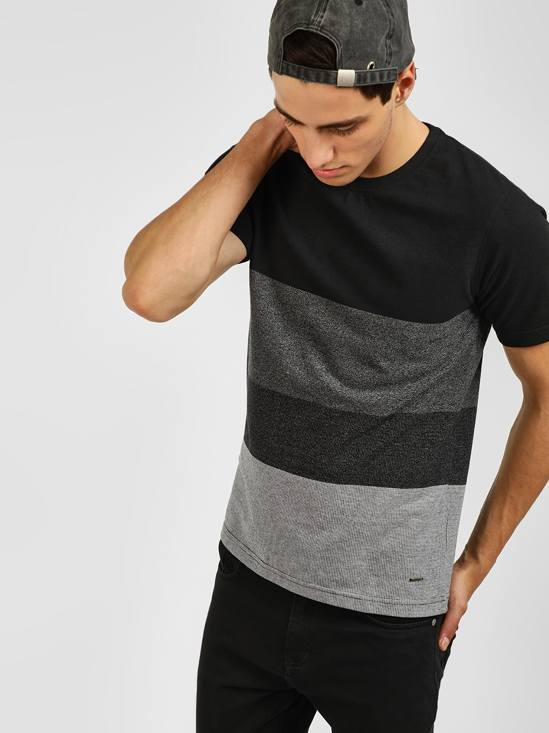 Lee Cooper Black Yarn Dyed Colour Block T-Shirt 1