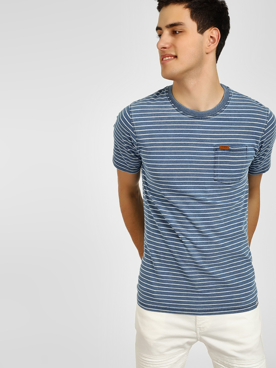 Lee Cooper Blue Yarn Dyed Striped T-Shirt 1