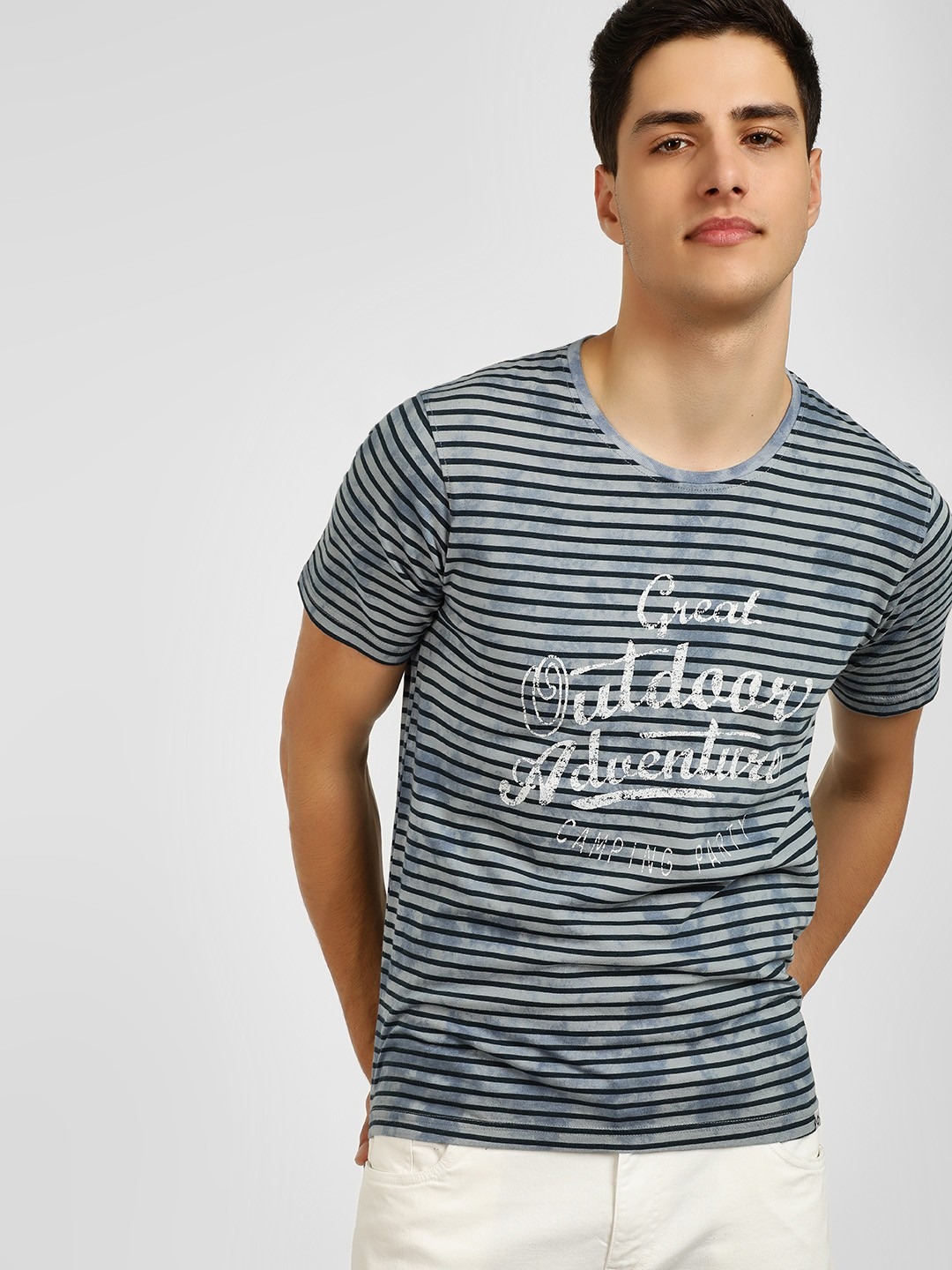 Lee Cooper Grey Striped Slogan Printed T-Shirt 1