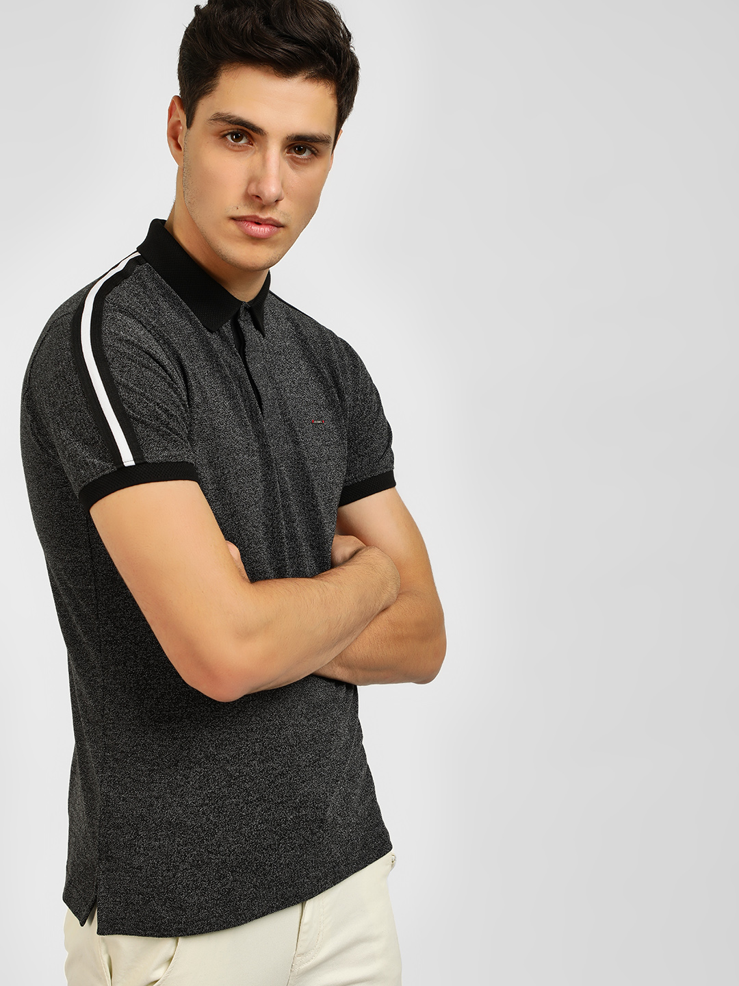 Lee Cooper Black Contrast Tape Polo Shirt 1
