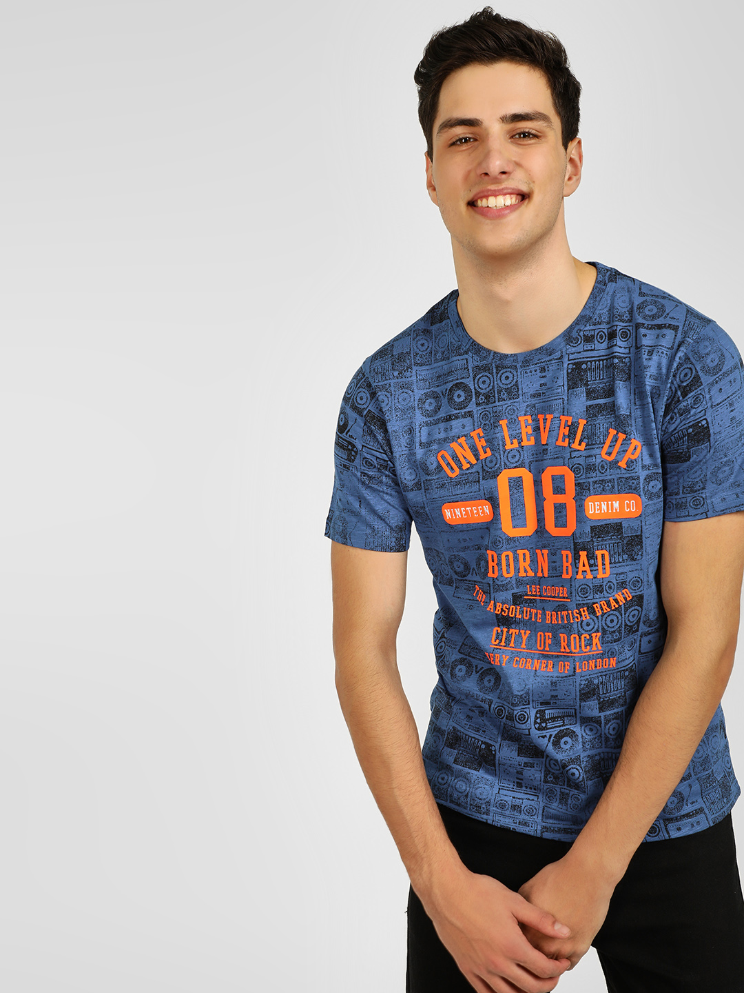 Lee Cooper Blue Slogan Print T-Shirt 1