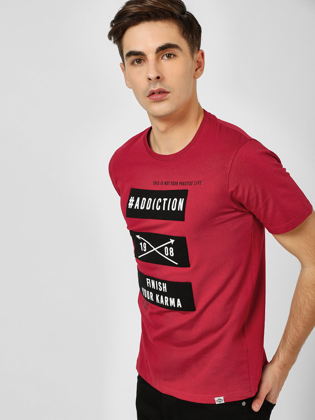 Lee Cooper Red Patched Slogan T-Shirt 1