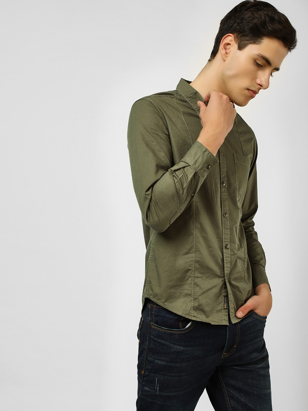 Buffalo Olive Basic Long Sleeve Casual Shirt 1
