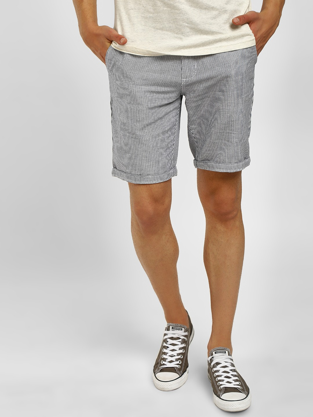 Buffalo Navy Plain Woven Casual Shorts 1