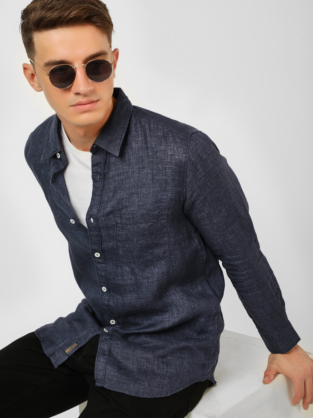 Buffalo Indigo Linen Long Sleeve Casual Shirt 1