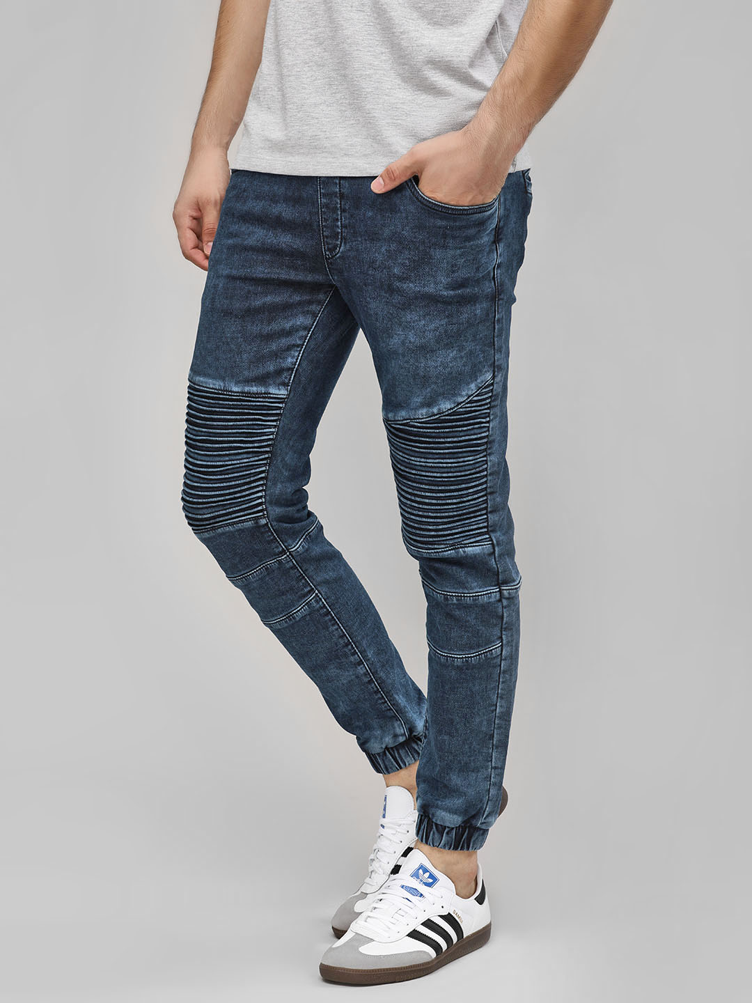 Buffalo Indigo Biker Panel Denim Joggers 1