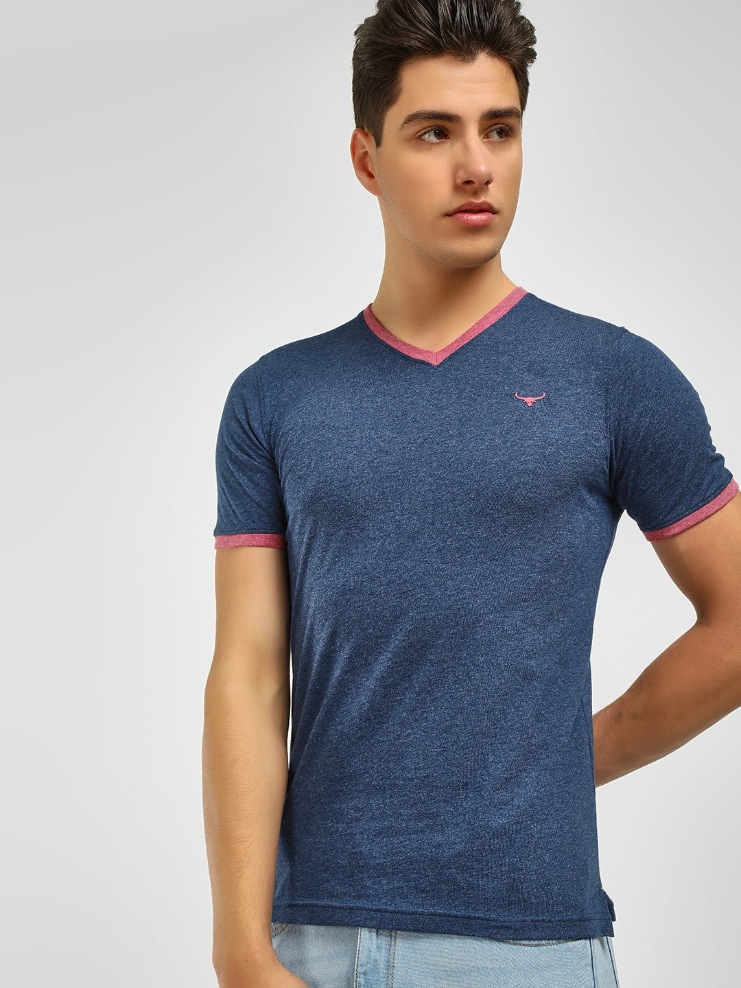 Buffalo Navy Contrast Tape V-Neck T-Shirt 1