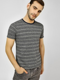 Buffalo Striped Woven Crew Neck T-Shirt