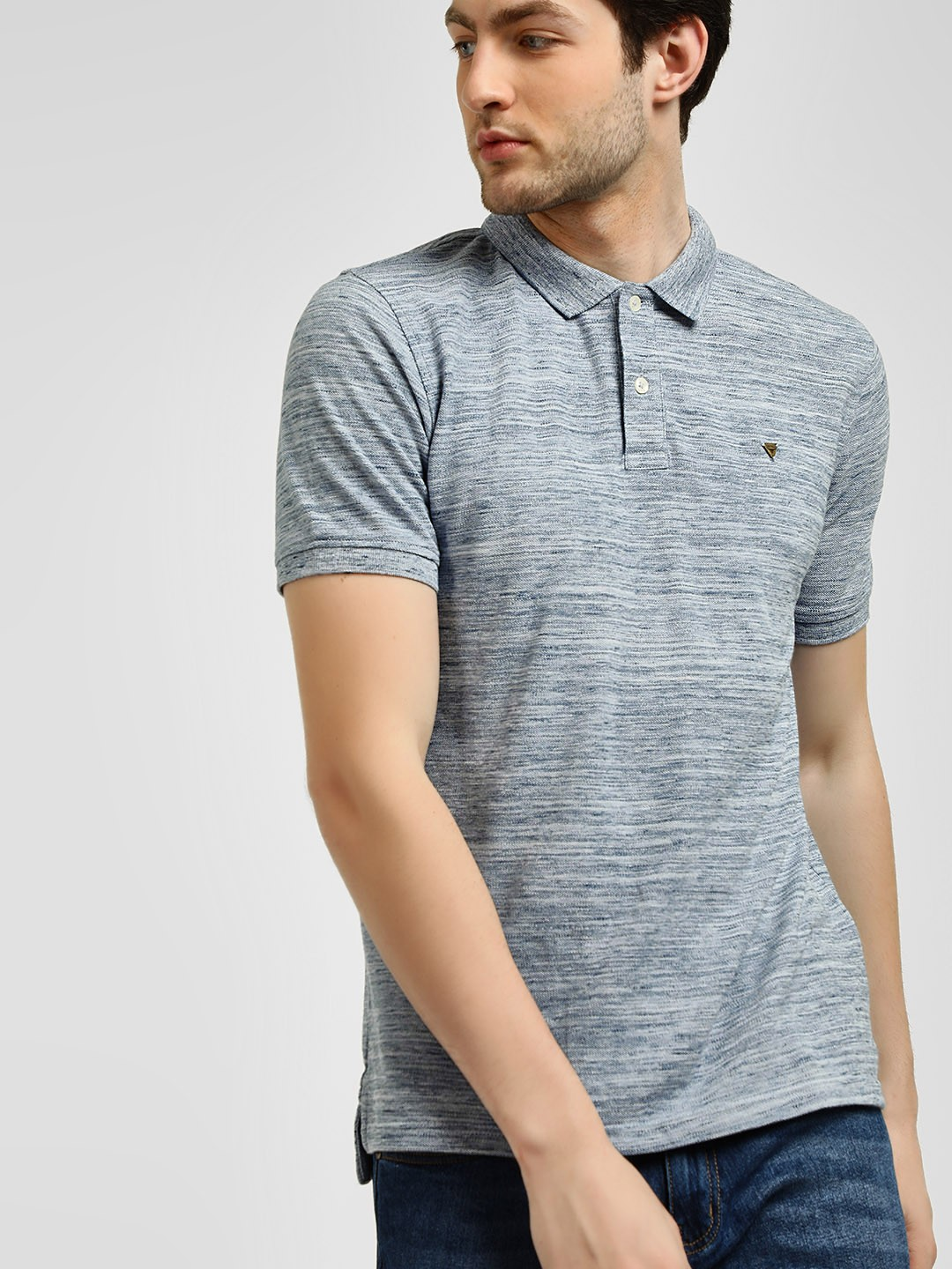 Buffalo Grey Injected Slub Polo Shirt 1
