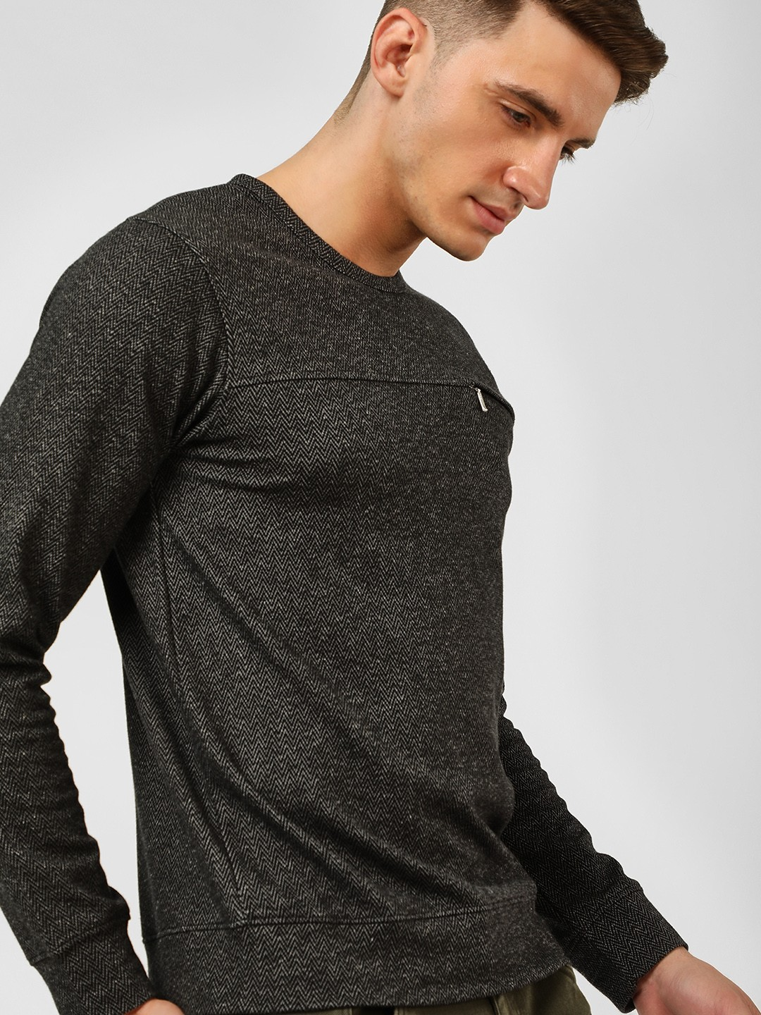 Buffalo Dark Grey Woven Long Sleeve Sweatshirt 1