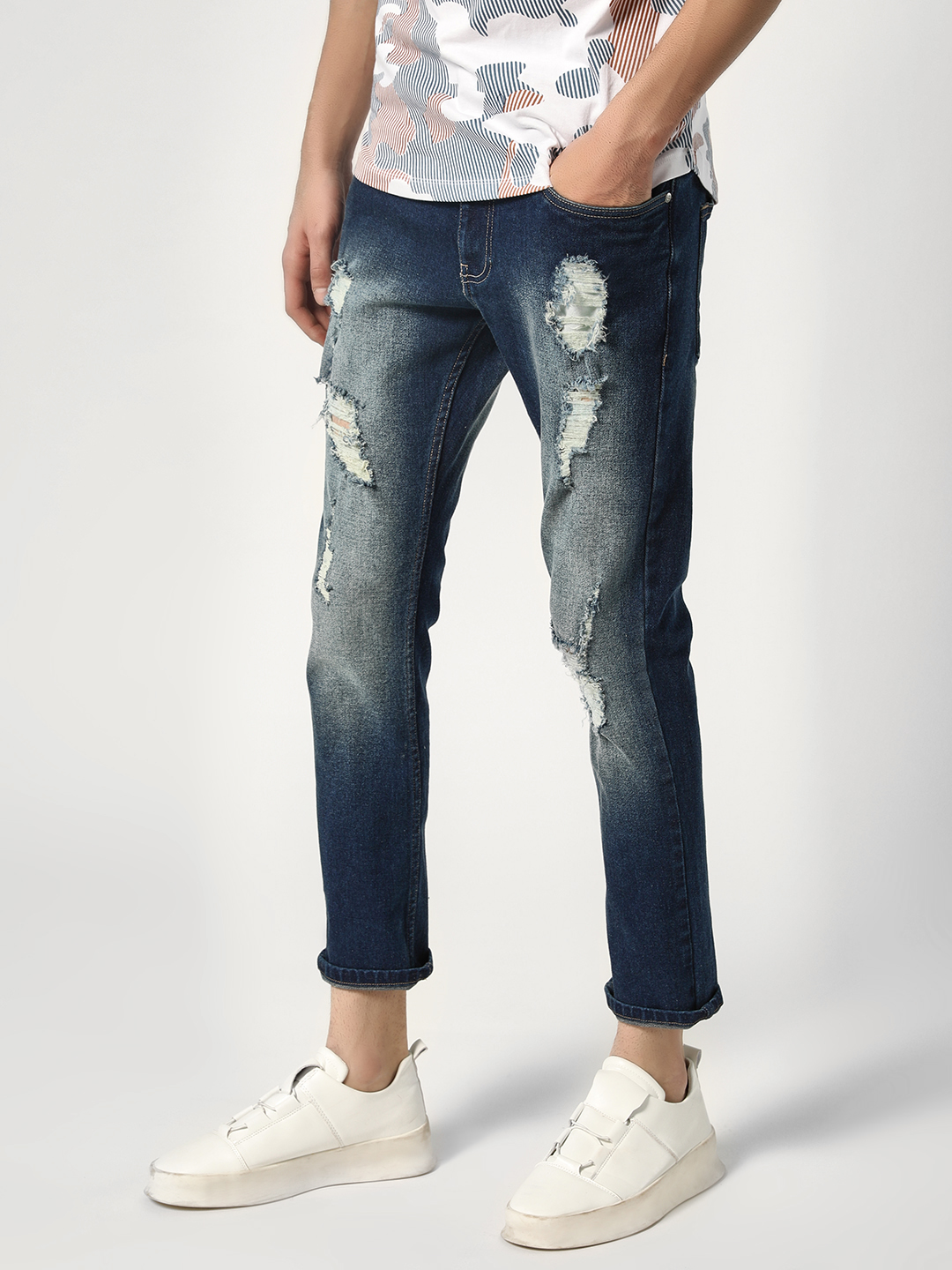 Styx & Stones Blue Distressed Tapered Slim Jeans 1