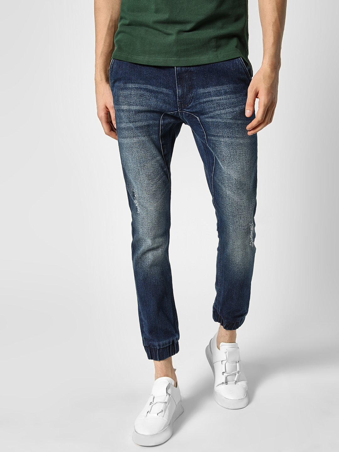 Styx & Stones Blue Distressed Washed Slim Jeans 1