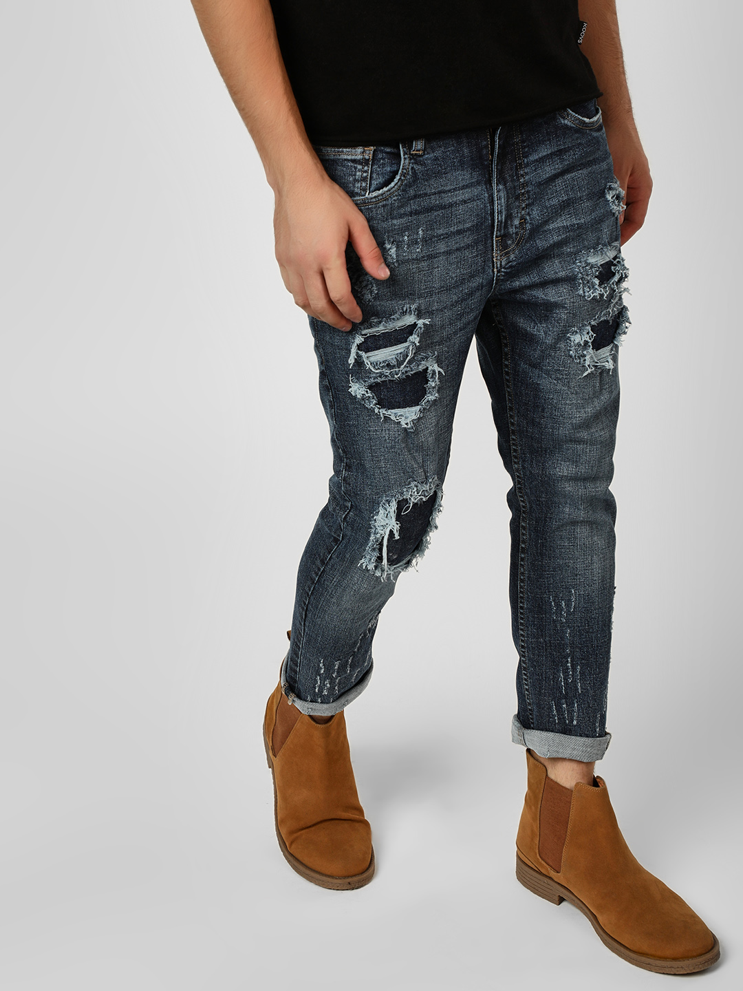 Styx & Stones Blue Highly Distressed Slim Fit Jeans 1