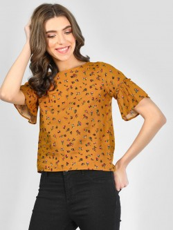 RIG Floral Print Blouse With Ruffled Sleeve