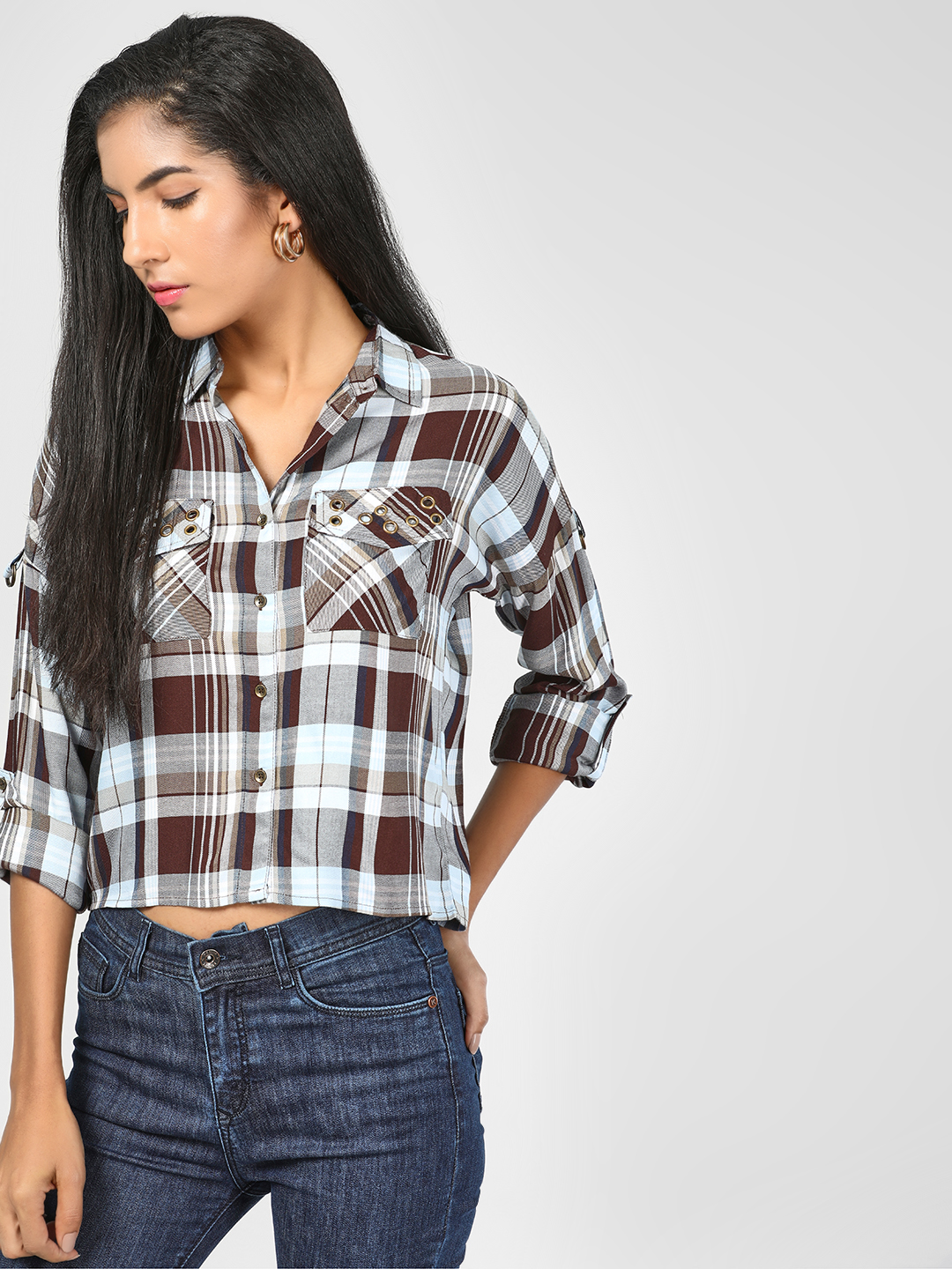 RIG Brown Checkered Crop Shirt 1