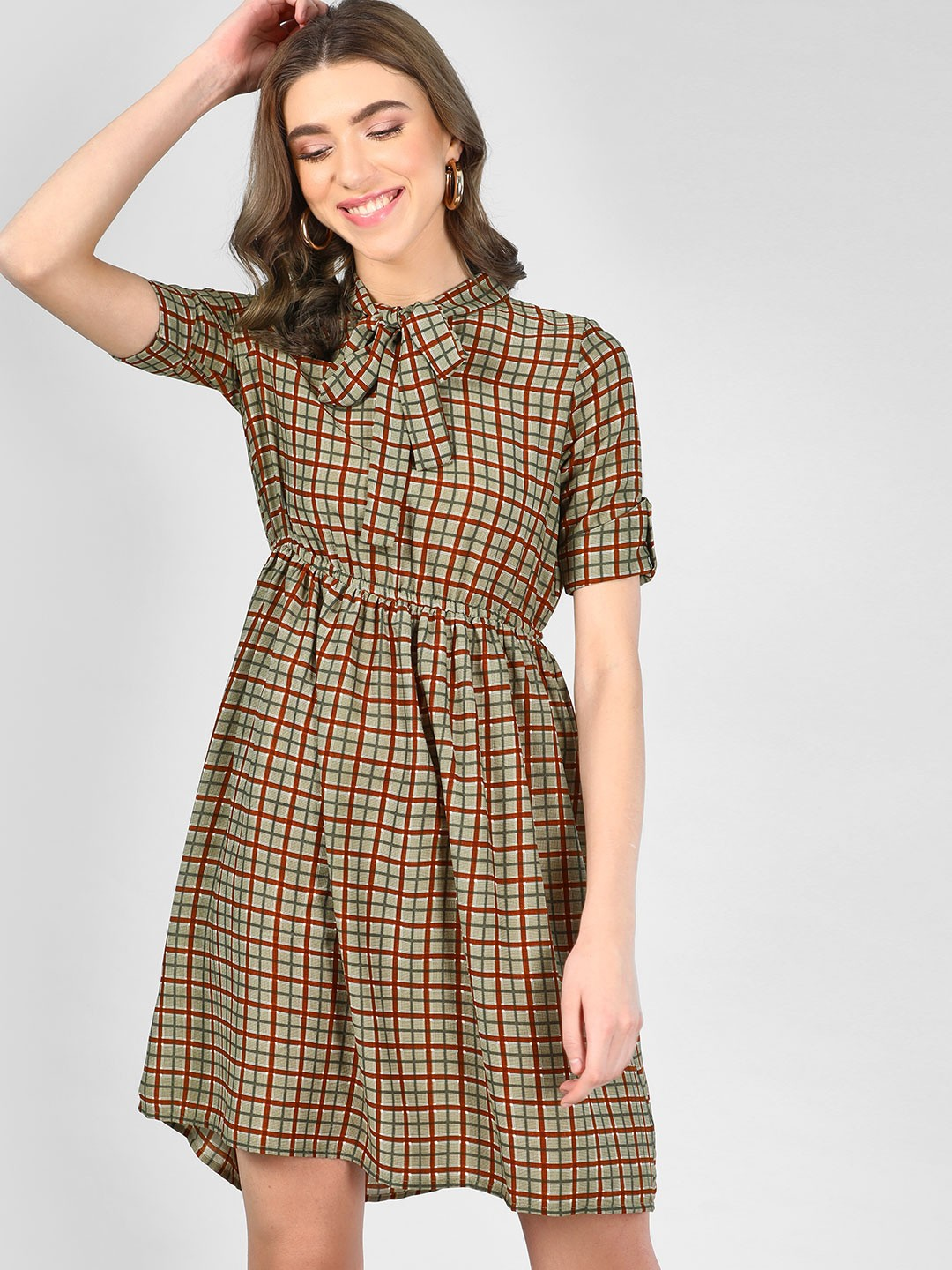 RIG Olive Check Midi Dress With Tie-Up 1