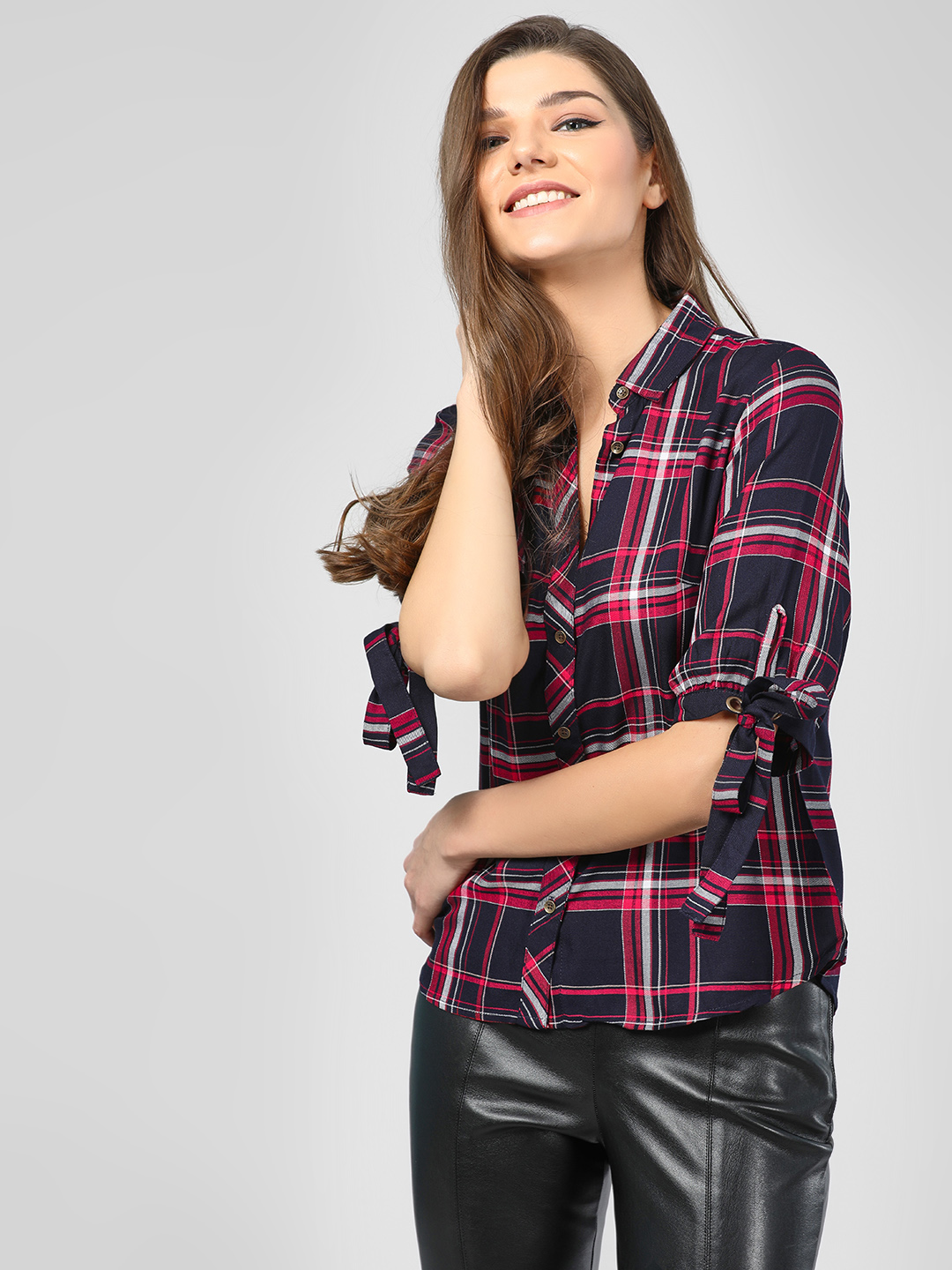 RIG Black Tie-Up Sleeve Checkered Shirt 1
