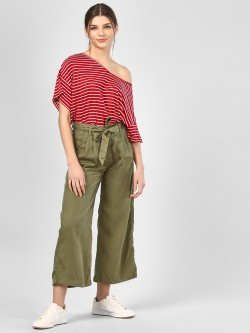 RIG Flared Olive Pants With Tie-Up