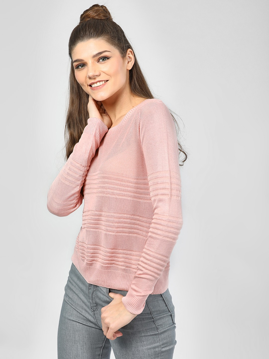 SCULLERS FOR HER Pink Structured Long Sleeve Top 1