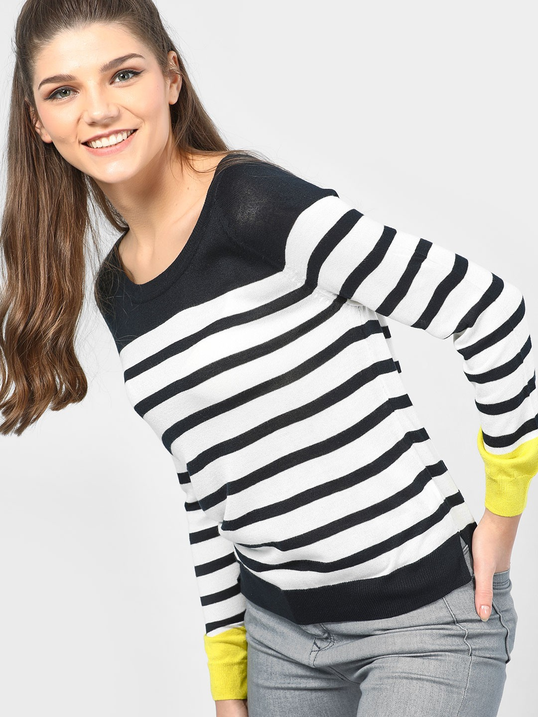 SCULLERS FOR HER Black Striped Knitted Long Sleeve Top 1