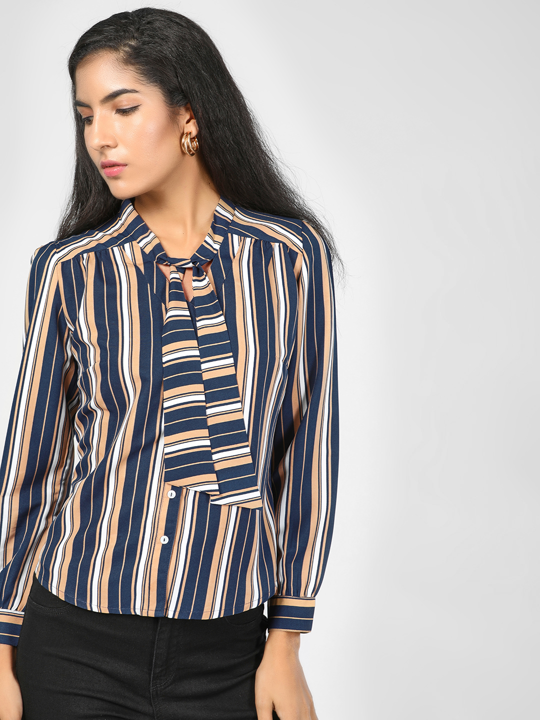 SCULLERS FOR HER Blue Striped Front Tie Up Shirt 1