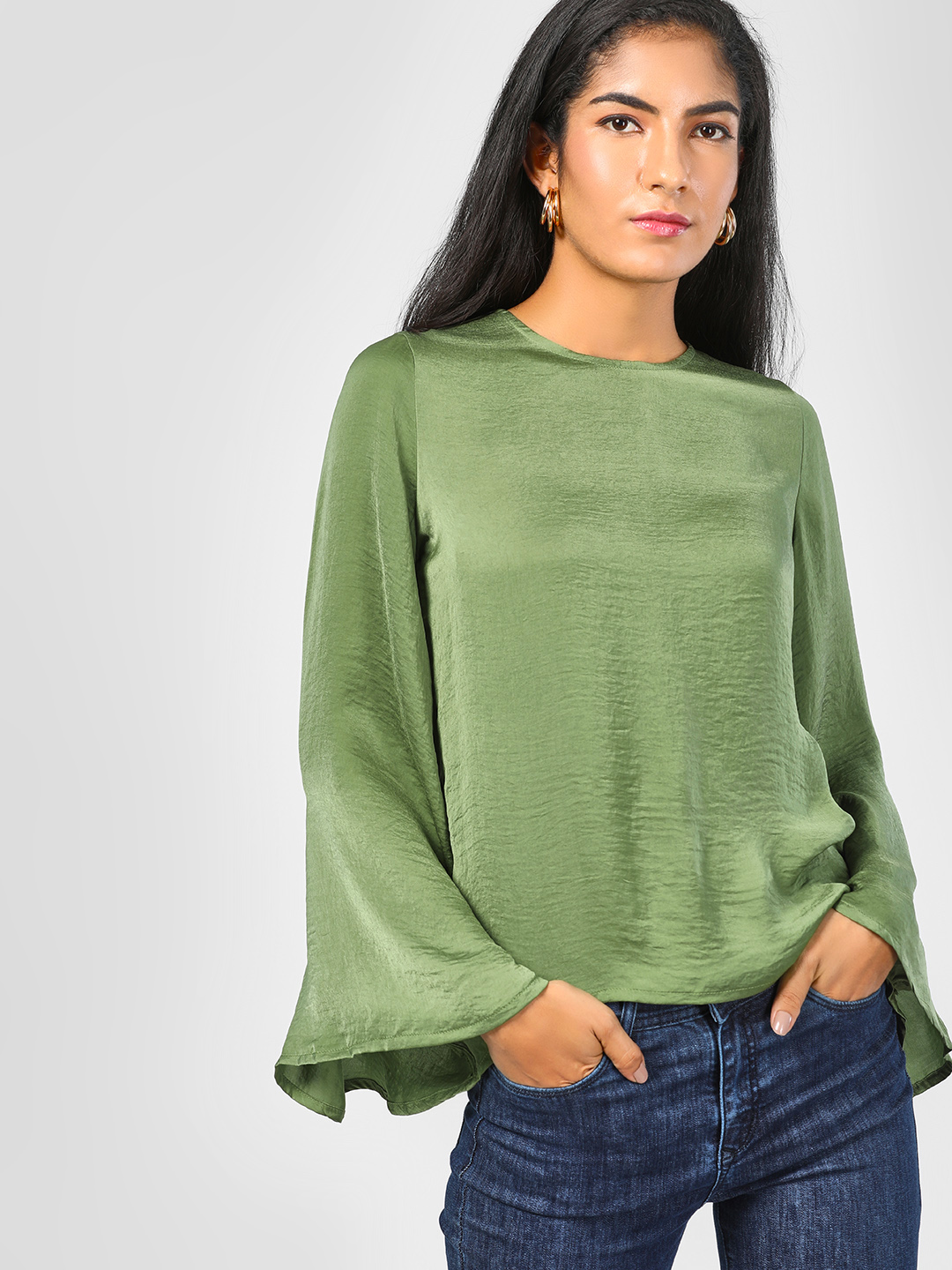 SCULLERS FOR HER Olive Bell Sleeve Blouse 1
