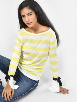 SCULLERS FOR HER Tie Sleeve Striped Knitted Top