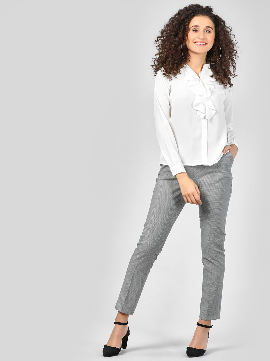 SCULLERS FOR HER Black Elasticated Plaid Trousers 1