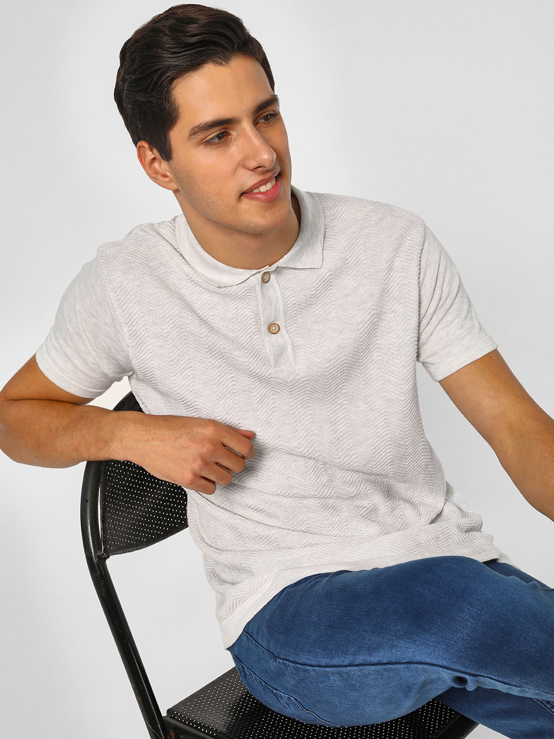 SCULLERS Grey Melange Basic Knitted Polo T-Shirt 1