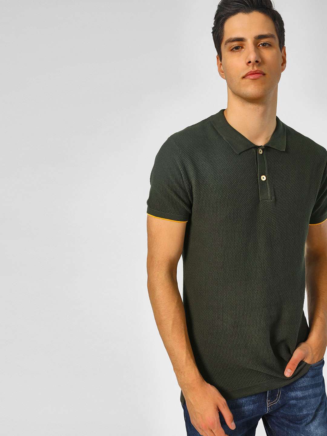 SCULLERS Olive All Over Knitted Polo T-Shirt 1