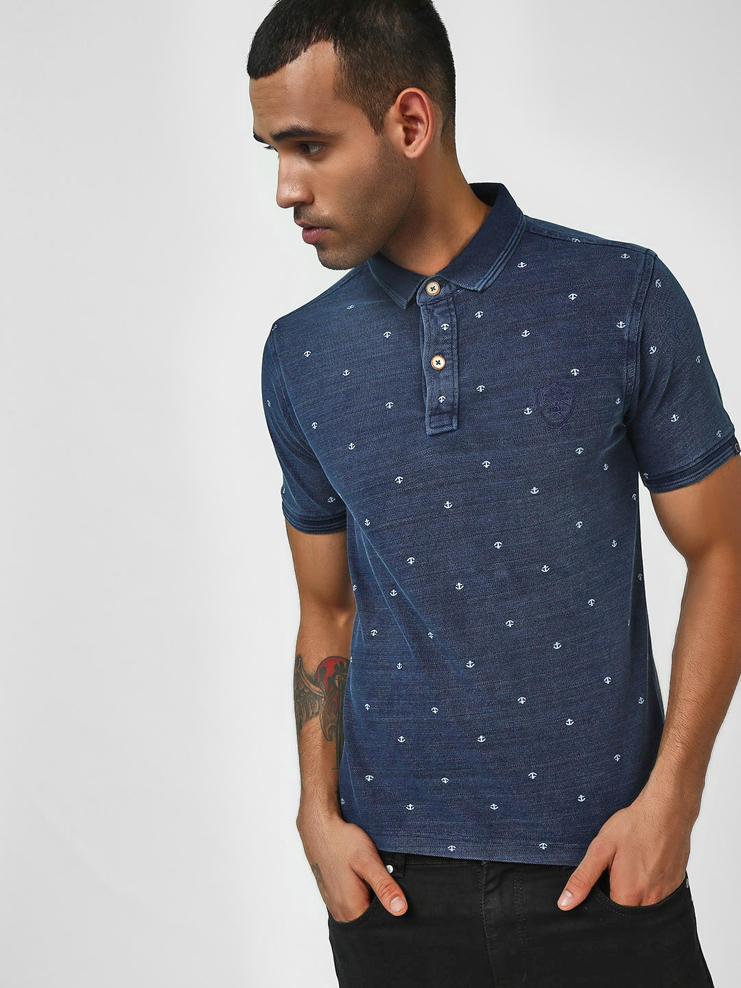 SCULLERS Navy All Over Oxford Print Polo T-Shirt 1