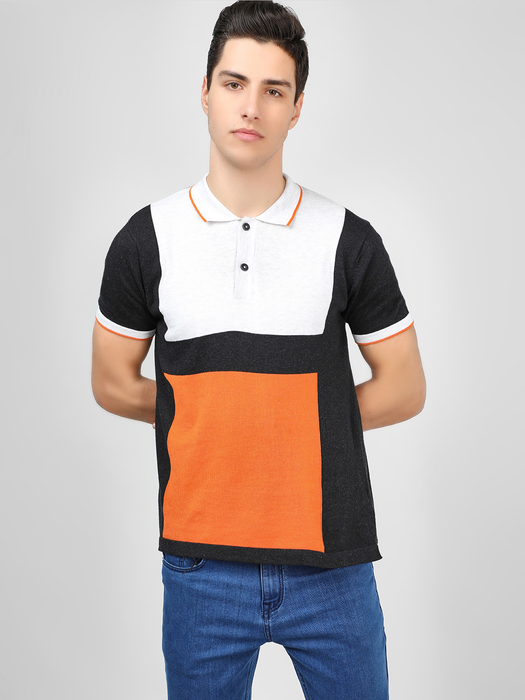 SCULLERS Multi Colour Block Knitted Polo T-Shirt 1